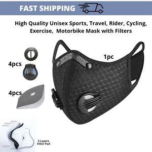 Riders Black Face Mask 4 Valves 4 Filter Pads